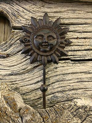 "2 BROWN SUN FACE HOOKS ANTIQUE-STYLE 6"" CAST IRON sunburst yard garden coat key"