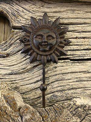 "2 BROWN SUN FACE HOOKS ANTIQUE-STYLE 6"" CAST IRON sunburst yard garden coat key 2"