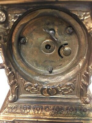 Antique Ornate Desk Or Carriage Clock W/ Rams Heads Ansonia Waterbury Era Parts 10