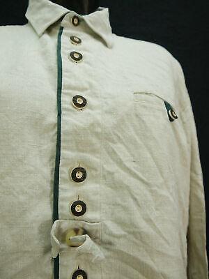 Gr.L Trachtenhemd Solo Leinen beige mit grünem Streifen Trachten Hemd TH1636 2