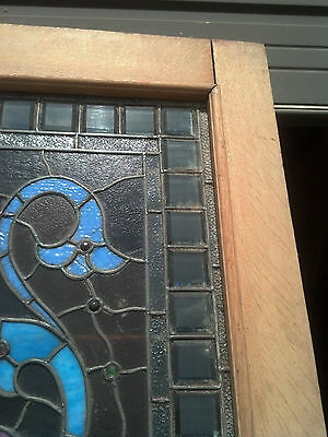 1/2 stained/beveled/jeweled stripped entrance door   (ED 4) 9