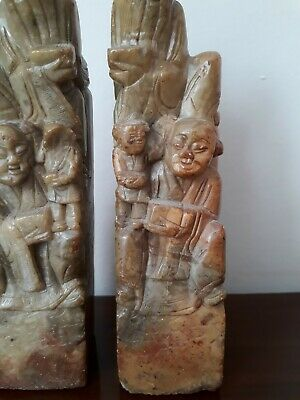 Pair of Chinese Soapstone Chinamen and child Bookends collectible and very old 4