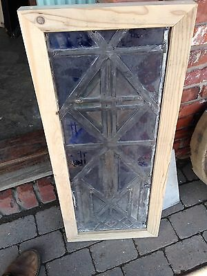 Antique Stain Glass And Painted And Fire Glass Cross With Flames Sg 52