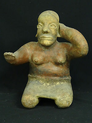 "Superb Pre-Columbian  Jalisco Ameca Style Seated Female Effigy Figure ~ 13"" H 9"