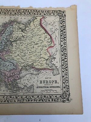 Antique Augustus Mitchell 1871 Map  of Europe Political Divisions 2