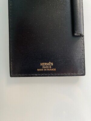 HERMES SMALL BLACK LEATHER NOTEPAD note book Purse Accessory France 5