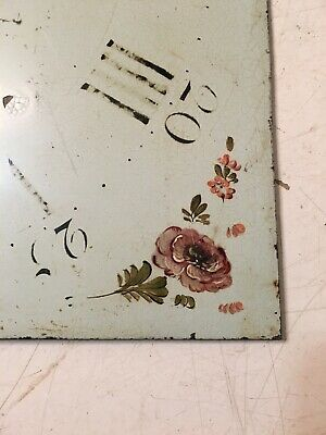 Antique Grandfather Clock Dial Painted Strawberries & Flowers Hanson Yaxley 7