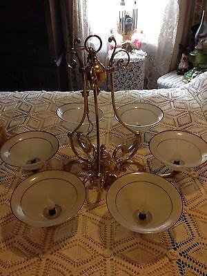 Large Brass Ornate 6 Arm Chandelier  (Massachusetts Pick-Up) 7