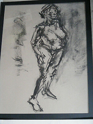 Figure life drawing nude expressive, charcoal / paper, woman standing, A1 size @ 3