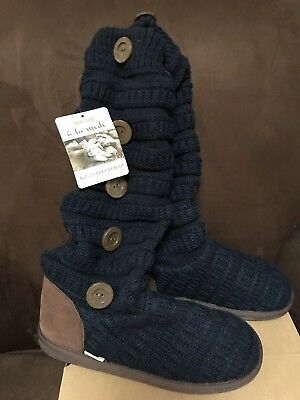 Mukluks Slouch Sweater Boot Size 9 Navy/Brown Warm Fun Super Cute!!! 2