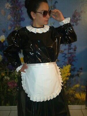 Adult Baby Sissy Kleid Zofe LACK PVC TRAVESTIE DIRNDL DIENSTMÄDCHEN SCHÜRTZE XL 2