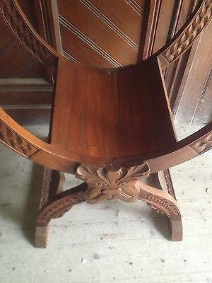 Pair Savonarola Medieval Gothic Dragon Mahogany x Frame Throne Chairs scissors 10