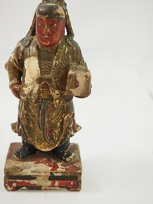 Chinese Polychrome Wood Carved Gift Bearer 8
