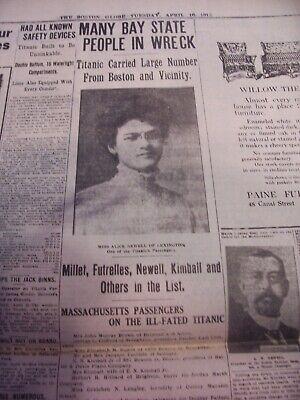 TITANIC NEWSPAPER 1912 Boston Globe/Marsh Murder Story/Ty Cobb Quits Team  !!!!! 11