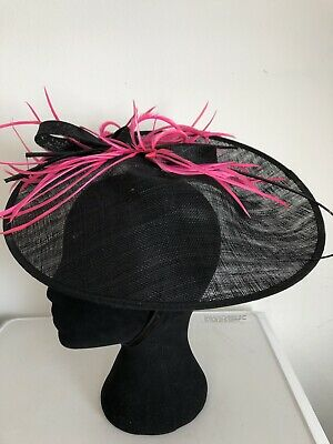 Black Pink Feathers  Fascinator Weddings Christenings Ladies Day Ascot 2