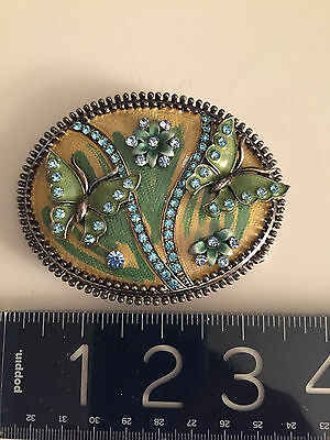 ANTIQUE style Austrian crystals+ ENAMEL BELT BUCKLE-with Butterflies/Flowers WOW 10