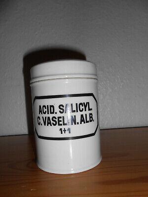 Salbendose, Porzellan mit Deckel,  60er Jahre  250 ml Apothekerdose ACID. SALIC 2