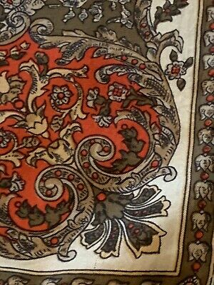 Vtg 80s Italian Silk Scarf Cream W/Brown Red Cluster Border Chariot Ships Wheel 10