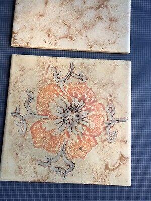 DÄNISCHBURG Vintage Beige Tiles Made In Germany 🇩🇪 Floral Design 3