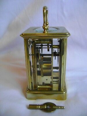 Antique Margaine Timepiece Small Carriage Clock + Key In Good Working Order 4