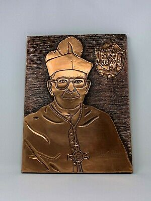 Vintage Trenton de Obispo John C. Reiss Hecho a Mano Cobre Tallado Pared Art 10