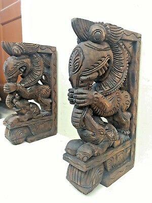 Wall Wooden Bracket Corbel Pair Temple Yalli Dragon Statue Sculpture Home Decor 7