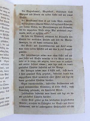 Historisches Zeitdokument Gebrauch des Melissen-Geistes o. Schlagwassers 19. Jh. 3
