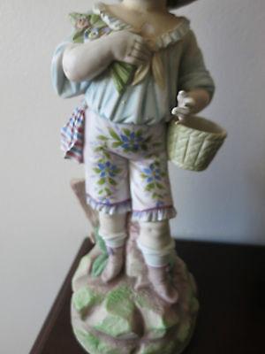 "Antique German  Hand Painted Bisque Rudolstadt Rustic Romantic Figurine 13"" Tall 7"