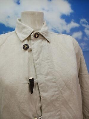 Gr.M Trachtenhemd Solo Leinen beige mit Knebelknopf Trachten Hemd TH1607 2