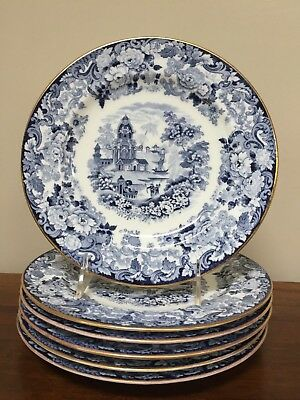 Antique Wedgwood CHINESE BLUE Etruria Luncheon Plates ~ Set of 6 2