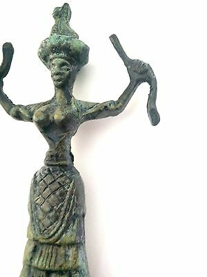 Ancient Greek Bronze Museum Statue Replica Of The Snake Goddess Collectable 1249 4