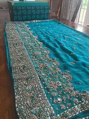Indian Bridal Engagement Wedding Sari Blue Green Turquoise 3 Piece Dupatta Heavy 6