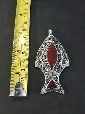 Rare Fish Vingate Pendant With Stunning Red Agate Stone # W1 3