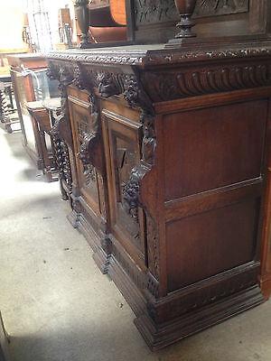 Carved Victorian Oak Library Bookcase Angel Dresser GreenMan LionsHead PussyOak1 4