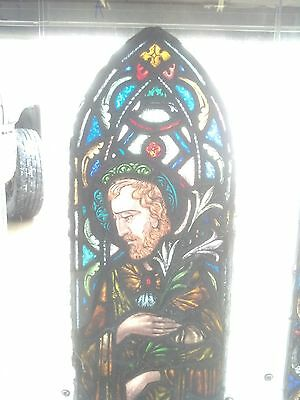 3 Pc. Amazing St, Joseph arch window painted and fired 2