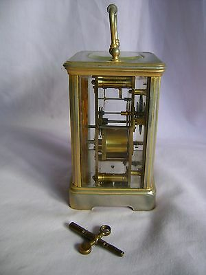ANTIQUE c1880 FRANCOIS ARSENE MARGAINE TIMEPIECE CARRIAGE CLOCK + KEY IN GWO 5