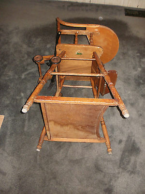antique wood carved convertible baby high chair folds down to