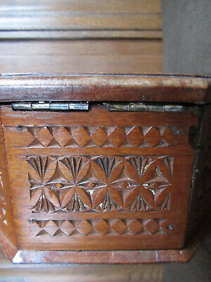 Carved Octagonal Box Friesian Arts & Crafts Folk Art Circa 1900 26cm Across 8