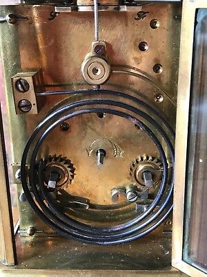 Antique French 1910 Brass & Glass Bevelled Travelling Carriage Mantle Clock 8