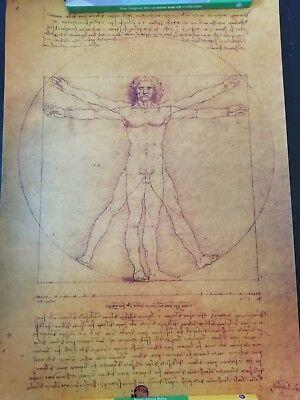 Leonardo Da Vinci Manuscript Vitruvian Man Poster Kraft Paper 2