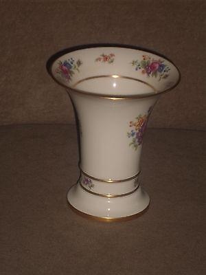 Vintage Lenox Ivory 6 Vase With Lenox Rose Pattern Old Blue Mark