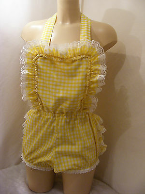 8f894ebbd055 ADULT BABY SISSY Gingham Ruffle Bum Romper Sun Suit Dungeries ...