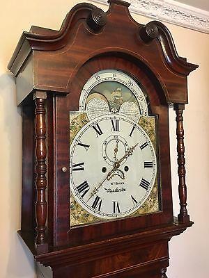 ~ Mahogany Grandfather Longcase Clock Rolling Moon Movement  W Jones Manchester 3
