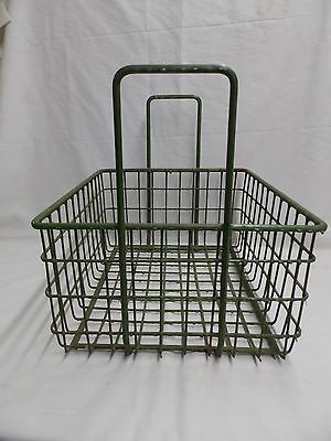 Vintage Small Kelly Green Coated Wire Basket With Handles Old Steampunk 3987-14 3
