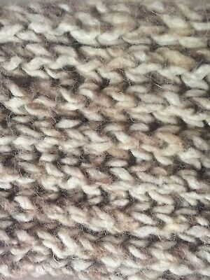 Vtg 80s Cream Brown Wool Hand Knitted Scarf Fingerless Gloves Novelty Onesize 2