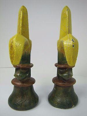 Old Pair Fleur De Lis Cast Iron Figural Finials nos architectural hardware 9