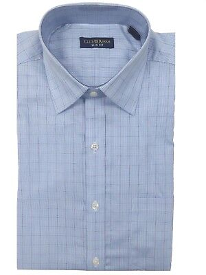 Club Room Slim Fit Blue Glen Plaid 100/% Cotton Dress Shirt 17.5 32//33 Easy Care