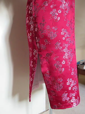 HALF PRICE!!  SILK BROCADE Traditional Oriental Chinese Cheong Sum Dress - L 2