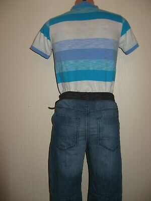 New Tagged Boys Next Cuffed Waist Pull On Skinny Leg Jeans & Next T-Shirt Age 11 7
