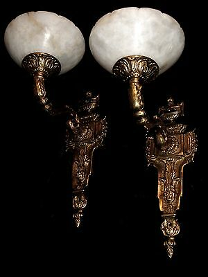 wall lighting fixtures solid bronze and real alabaster made by artist 2